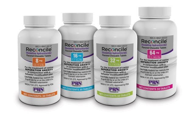 FDA-approved and specifically formulated for dogs, Reconcile® (fluoxetine hydrochloride) flavored, chewable tablets, in conjunction with the BOND™ training program, are clinically proven to help dogs that experience separation anxiety. Reconcile is priced competitively with generic tablets. Visit Reconcile.com to learn more.