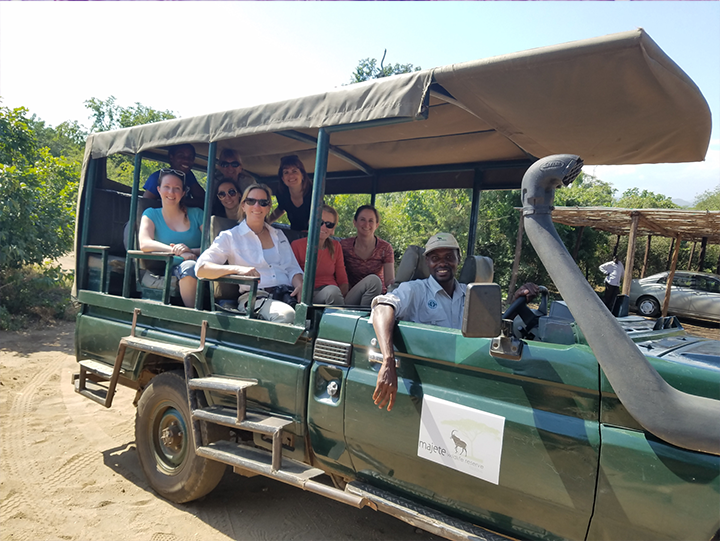 Part of the team on safari at Majete Wildlife Reserve
