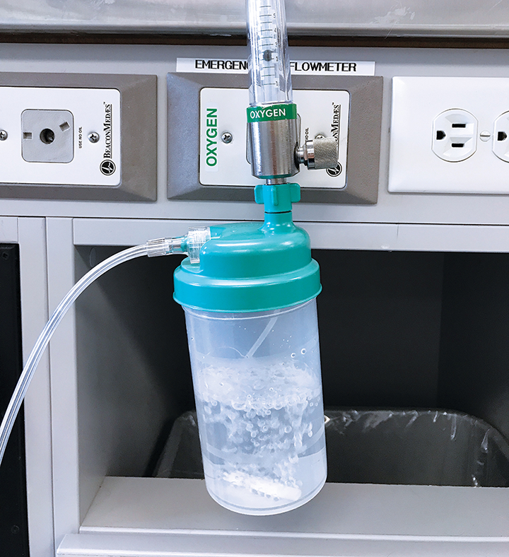 A bubble humidifier is necessary to humidify oxygen used for long term supplementation.